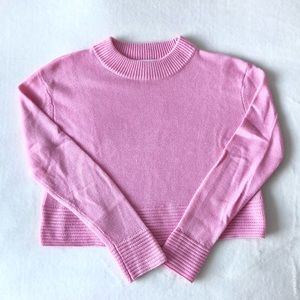 Bubble gum pink mock neck sweater